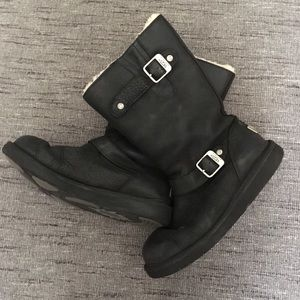 Ugg motorcycle style black leather boots Metal tag